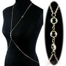 Fashion Alloy Gold Plated Necklace Body Belly Waist Crossover Chain Beach