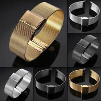 18mm-24mm Milanese Stainless Steel Watch Mesh Band Strap Double Clasp Bracelet