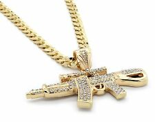 "Mens 14k Gold Plated Iced Out ACR Gun Pendant Hip-Hop 30"" Cuban Necklace Chain"