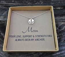 Anchor Necklace for Mom in Sterling Silver. Mother's Necklace