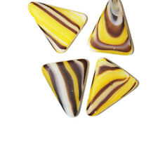Matte Yellow Flat Triangle Czech Pressed Glass Beads 25mm (pack of 4)
