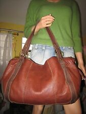 LUCKY BRAND EASY RIDER SATCHEL TOTE BAG Rich Brown‏‏ Leather  EUC  $199.00