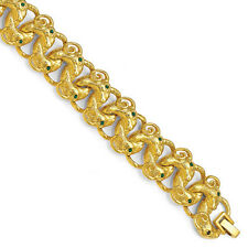 "Gold-Plated Jackie Kennedy Rams Head Swarovski Elements Bracelet 7.5"" +1"" Ext."