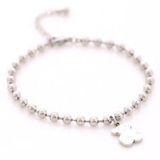 Cute Bear Bracelets Round Bead Chain Titanium Steel Bangle Silver/Gold/Rose Gold