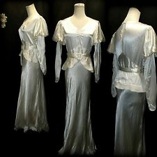 Vtg 30s Wedding Dress M Bias Cut Liquid Satin Belted Piped Peplum Juliet Sleeves