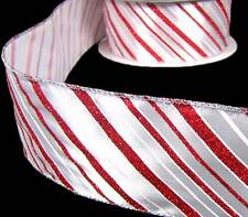 5 Yd Christmas Peppermint Candy Glitter Red White Stripe Striped Wired Ribbon 2