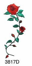 "#3817D 6-3/4"" Red Rose Flower Embroidery Iron On Appliqué Patch"