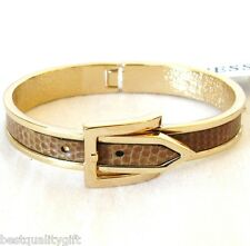 NEW GUESS GOLD TONE+BROWN PYTHON LEATHERETTE BELT-STYLE BANGLE,CUFF,BRACELET