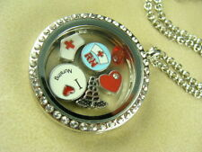 NURSE RN III FLOATING CHARMS IN 30MM LOCKET PENDANT WITH SILVER NECKLACE