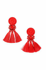 H&M NWT Conscious Exclusive Decorative Tassels Beads Orange Red Earrings