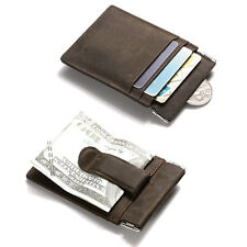 MEN CRAZY HORSE LEATHER SLIM BILLFOLD MAGNET MONEY CLIP ID COIN WALLET GIFT