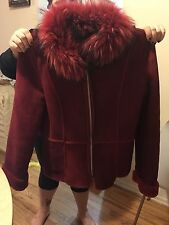 Autunno Collezione Red Suede Shearling Sheepskin Fox Collar Coat Size: M Medium