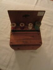 Antique Wooden Sewing Chest Thread Holder Made in Maine by J. Sherman Hoar