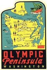 Olympic Peninsula Washington  Seattle  Vintage 1950's Style Travel Decal Sticker