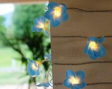 Battery LED Blue Frangipani Style Flower Fairy Light String Frangipannis