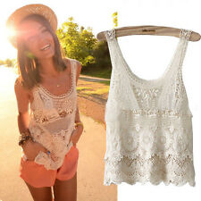 Chic Women Summer Hippie Boho Crochet Lace Sexy Tank Vest Top Ladies Blouse Tops