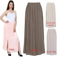 Womens Long Chiffon Maxi Dress Pleated Boho Skirt Ladies Side Splits Size 6 - 24
