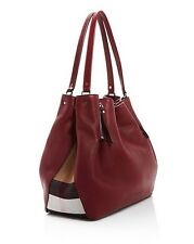 Burberry Medium Maidstone Grained Burgundy  Leather  Tote Shoulder Bag $ 1,200+