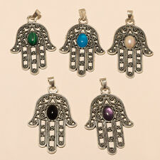 MULTI-COLOR WHOLESALE LOT 925 STERLING SILVER PLATED GEMSTONE PENDANT JEWELLERY