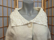 boo gemes Beige sequins  Wool Short Sleeve Shrug Cardigan Sweater Womens Size M