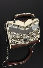 Isabella Fiore Jackie  Flap Snake Print Leather Shoulder Bag  NWT