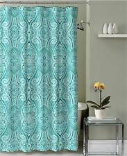 Turquoise Teal Grey White Fabric Shower Curtain: Ornate Mosaic Damask Design