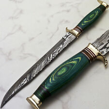 Deewana CUSTOM HAND FORGED DAMASCUS HUNTING , BOWIE KNIFE - HARD WOOD - R-4370