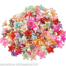 """200PCS Wholesale Lots Mixed Flower Acrylic Spacer Beads 13x13mm(4/8""""x4/8"""") GW"""