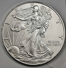 1996 Silver Eagle.  1 oz Coin.  All Coins White.  NO TONING.  B.U.