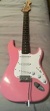 Pink Fender Bullet Squire electric guitar