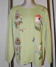 CLAIRE MURRAY Cardigan Sweater L Light Green Birds Birdhouses Embroidery
