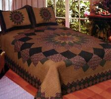 Alexandra Dahlia 3 Pc KING QUILT Bedding Set - Rustic Vintage Bedspread Coverlet