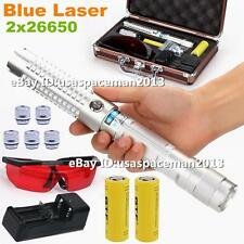 High Power Focus Blue Laser Pointer Pen Laser Torch Burning Laser Pen 2x26650 L