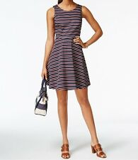 Tommy Hilfiger Masters Navy Peggy Striped Fit & Flare Dress Size 8