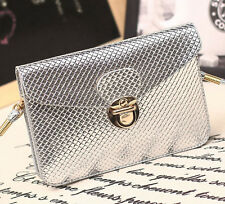 Women's Crossbody Shoulder Silver Wallet Messenger Tote Satchel Phone Pouch