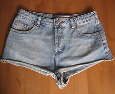 Moto Topshop Denim Hotpants Shorts Bleached Light Distressed Vintage Look 30""