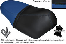 ROYAL BLUE AND BLACK CUSTOM FITS SUZUKI AY 50 KATANA DUAL LEATHER SEAT COVER