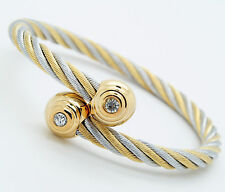 Unisex Men Women's Stainless Steel Bracelet Silver And Gold Adjustable Size L79