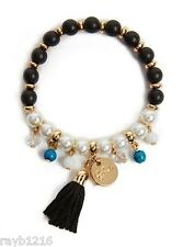 NWT Guess Black, Turquoise & Faux Pearl Beads-Gold Metal Tassel Stretch Bracelet