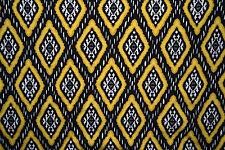 Cotton Lycra Spandex Ethnic Print Black Yellow Apparel Fabric Sewing Clothing