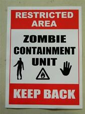 HALLOWEEN HORROR Movie PROP ZOMBIE CONTAINMENT UNIT STICKER/DECAL