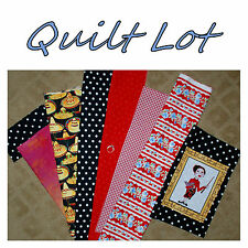 BonEful Fabric Cotton SCRAP QUILT LOT US Teacher Spanish Hat Mexican B&W Red Dot