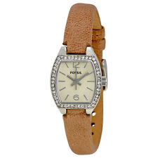 Fossil Ivory Dial Beige Leather Strap Ladies Watch BQ1212