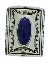 Michael Thompson, Ring, Stamping, Blue Lapis, Sterling Silver, Navajo Made, 8