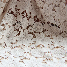"Beige Cotton Guipure Lace Fabric Floral Embroidered Soft DIY Dress 51"" 1 Yard"