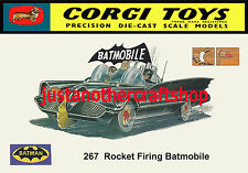 Corgi Toys 267 Batman Batmobile A4 Size Poster Advert Leaflet Shop Sign 1966