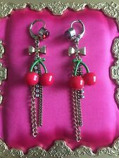 Betsey Johnson Vintage Lucite Cherries Cherry Fruit Red Crystal Heart Earrings