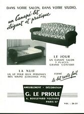 "Publicité Ancienne "" Canapé G. Le Priole Advertising 1954 (P 33)"
