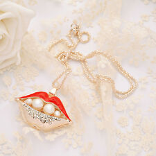 Christmas gift Sexy lips dripping Pearl Pendant Necklace