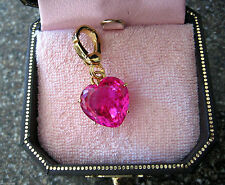 NEW inBox Retired Juicy Couture Pink Heart Crystal Charm Bracelet/Necklace/Purse